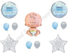 TWINKLE LITTLE STAR BABY BOY Shower Balloons Decoration Supplies Nursery Rhymes #Anagram #BirthdayChild