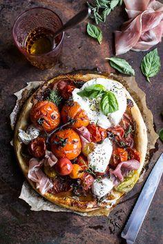 Quick Balsamic Fig Roasted Tomato and Burrata Cheese Tarts | http://halfbakedharvest.com /hbharvest/