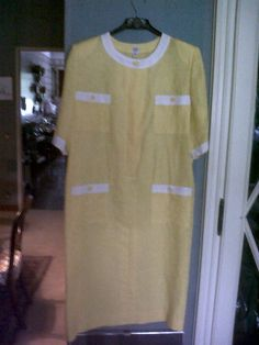 Yellow and white linen dress