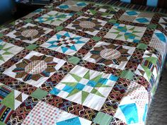 Retro Wild Color Sampler Quilt Top Ready for by Pamelaquilts, $400.00