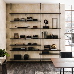 Cattelan Italia Airport modular wall- or ceiling-hanging bookcase. Brackets and pillars in white, black or graphite embossed lacquered steel. Shelves and container in Canaletto walnut, burned oak, embossed white or graphite painted wood. Home Office Cabinets, Diy Cabinets, Living Room Inspiration, Interior Inspiration, Living Tv, Airport Design, Italia Design, Modular Walls, Ceiling Hanging