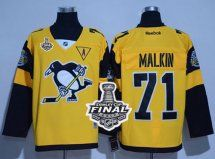 2017 Stanley Cup Final Patch Penguins #71 Evgeni Malkin Gold 201