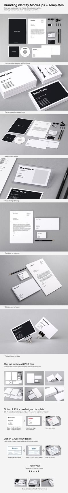 Branding Identity Mock-Ups and Templates by Vitaly Stepanenko on Behance. #mockups #brand #identity