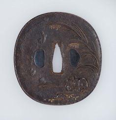 Tsuba with design of rabbits and susuki grass   Museum of Fine Arts, Boston