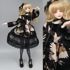 Wa gothic The black dress of a crane by RMLBJD.deviantart.com on @deviantART #bjd #3dprinter #3dprint #balljointeddoll #doll
