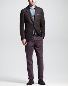 Glen Plain Sport Coat, Cashmere V-Neck Cardigan Vest & Basic Slim Aviator Pants by Brunello Cucinelli.