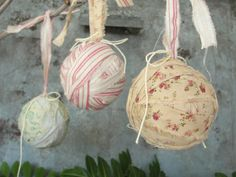 Rustic ornaments fabric ornaments set of 3 red ticking by paperjar, $12.00