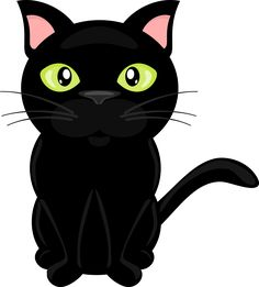 Free clipart, transparent background, png 300 dpi, cute black cat with green eyes. Perfect for scrapbooking, card making, printable. Copyright free.