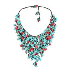 AeraVida Handmade Reconstructed Coral and Reconstructed Turquoise... (€45) ❤ liked on Polyvore featuring jewelry, necklaces, long bib necklace, multi layer necklace, long layered necklaces, coral bib necklace and strand necklace