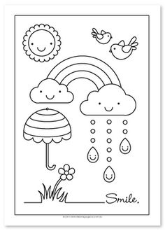 Rainbow coloring page for the kids to color at party.