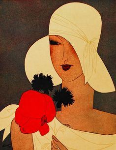Illustration of lady in large floppy hat from a fashion magazine, by Leon Benigini. c.1927.