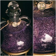 This is a re purposed vinegar oil cruet All potion ingredients were mixed in a 4 cup measuring cup with corn syrup as the base I use enough syrup to fill each potion bottle leaving a little head room at the top Fine glitter in the desired color is then mi