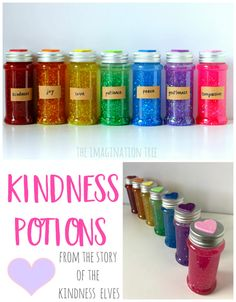 Make some rainbow coloured Kindness Potions Sensory Bottles to learn about what makes a kind and caring heart