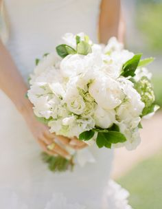white bouquet with roses and peonies