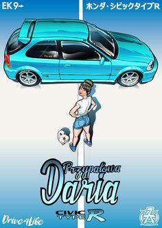 Legendary Honda Civic Type R with young lady Daria. Hatch Art, Ek Hatch, Civic Eg, Honda Civic Type R, Civic Hatchback, Honda City, Japan Cars, Car Drawings, Bike Stuff
