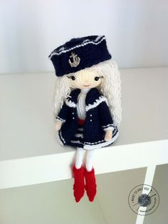 Sally - knitted souvenir art doll with blonde hair in navy uniform. Perfect gift for teenager or adult.