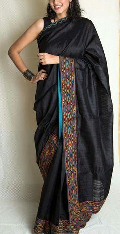 Pahadi embroidery on saree border Trendy Sarees, Stylish Sarees, Indian Attire, Indian Wear, Beautiful Saree, Beautiful Outfits, Indian Dresses, Indian Outfits, Phulkari Saree