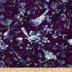 Natural Wonders Bird Silhouettes Purple from @fabricdotcom  Designed by Elizabeth Isles for StudioE Fabrics, this cotton print fabric is perfect for quilting, apparel and home decor accents. Colors include white, shades of blue, shades of purple, and shades of turquoise.