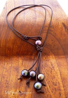 Leather and Pearl Knotted Necklace by MiShel Designs.