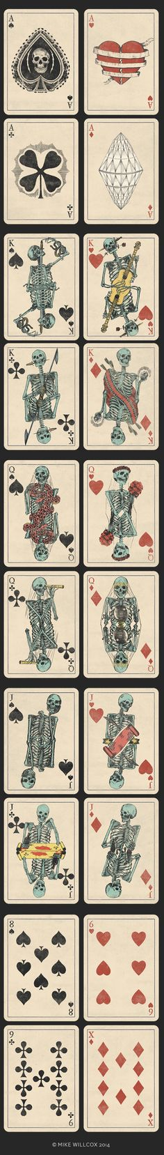 Mike Willcox is raising funds for A Deck of Skeletons. An epic and timeless hand illustrated deck of skeleton gypsies, sailors, thieves, and lovers. Vintage Playing Cards, Art Et Illustration, Girl Illustrations, Memento Mori, Vanitas, Skull Art, Deck Of Cards, Tarot Cards, Lotus Tattoo