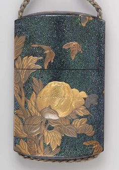 Lacquer Inro. Peony and butterfly motif.