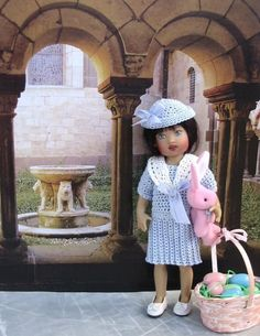 A dress & hat for 8-inch child doll (inspired by an outfit worn by Princess Diana)