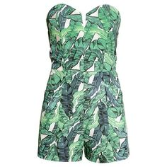 Multicolor Tropical Floral Print Off Shoulder High Waist Romper featuring polyvore, women's fashion, clothing, jumpsuits, rompers, romper, high waisted romper, off the shoulder romper, colorful rompers, off shoulder romper and green rompers