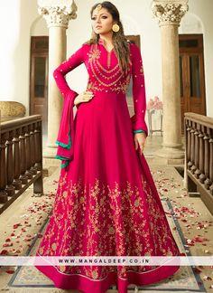 Drashti Dhami Pink Wedding Wear Anarkali Dress