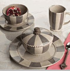 Livingstone Dinnerware Collection - Striped & Livingstone Dinnerware Collection in Taupe by The GG Collection ...