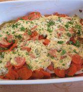 Rotbarsch-Filet mit Möhren und Senfcreme
