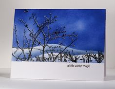 """OLW 101 Blue...posted on Bits and Pieces. Masking, double stamping, embossed """"frost"""" on trees."""