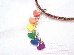 Tiny rainbow heart dangle necklace LGBT gay pride jewelry
