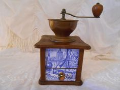 Vintage Wood/Brass or Copper Coffee Grinder With Windmill Scene