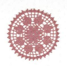 """Small Delicate Crocheted Dusty Rose Pink """"Elegance"""" Doily - 7 1/2"""""""