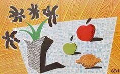 stilllifequickheart:    David Hockney  Two Apples, One Lemon and Four Flowers  1997