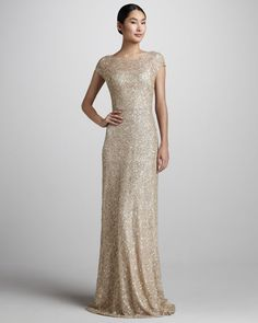 David Meister Signature - Sequined Cap-Sleeve Gown