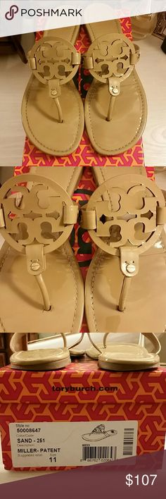 Tory Burch Miller Sandal Patent Tan --------PRICE FIRM-------- Tory Burch Miller Sandals in Patent Leather Sand (tan clolor). Pre owned with wear to the fronts, footbed, heels, and soles.Please see pictures.  Size 11. Online reviews will give you a well rounded idea of the fit for the Tory Burch Miller Sandals.  Comes with box.  Great for vacation 🌞 or Campus 📚   *No trades/holds, but thank you* ---------PRICE FIRM--------- Tory Burch Shoes Sandals