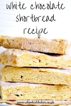 white chocolate shortbread recipe - an easy bake and extremely delicious. Great for bake sales, coffee mornings, tea time treats and dessert. http://abookishbaker.co.uk/