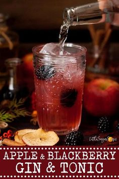 GIN & TONIC with APPLE & BLACKBERRY - great for autumn #gintonic #ginandtonic #gin&tonic #applegin #blackberrygin #autmngindrink #fallgindrink #autumnginandtonic #fallginandtonic #littlesugarsnaps Cocktails Using Gin, Best Gin Cocktails, Best Cocktail Recipes, Gin Recipes, Easy Drink Recipes, Fall Recipes, Blackberry Gin, Cinnamon Spice, Party Food And Drinks