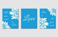 Modern Wall Art Trio - All You Need is Love - Set of 3 - 8 x 10 prints - Emerald Green, Hot Pink, Orange, Blue. $39.50, via Etsy.