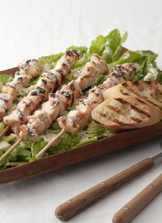 Grilled Chicken Ceasar Salad Skewers // Switch up your Caesar Salad and give this tasty twist on an old favorite a try!