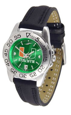 Miami Hurricanes Sport AnoChrome Ladies Watch with Leather Band