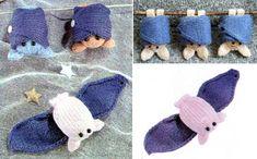 Вязаная спицами игрушка. Летучая мышь. Описание