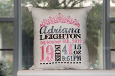 Birth Announcement Pillow by InspiredbyJu on Etsy, $48.00