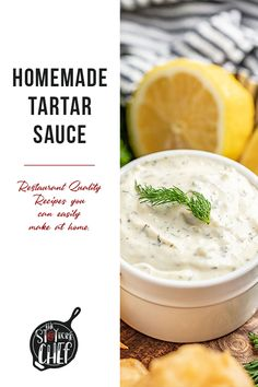 Homemade tartar sauce is bright, tangy, and so easy to make! If you're craving fish and chips, you can't forget the homemade tartar sauce on the side! High Protein Vegetarian Recipes, Low Carb Dinner Recipes, Vegetarian Recipes Dinner, Sauce Restaurant, Homemade Tartar Sauce, Crockpot Recipes, Spicy Recipes, Bread Appetizers, Sweet Pickles