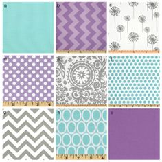 Custom Crib Bedding - Purple, Grey And Aqua 2 Baby Bedding