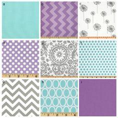 Custom Crib Bedding - Purple, Grey And Aqua 2 Baby Bedding