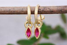 Gold Ruby Earrings Pendant Hoops Earrings Solid Gold Hoops   Etsy Evil Eye Earrings, Ruby Earrings, Gold Hoop Earrings, Boho Earrings, Pendant Earrings, Boho Wedding Ring, Silver Casting, Antique Earrings, Gold Hoops