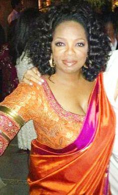 Oprah in a Kanjeevaram saree