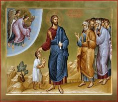 """""""Assuredly, I say to you, whoever does not receive the kingdom of God as a little child will by no means enter it. Religious Pictures, Religious Icons, Religious Art, Byzantine Art, Byzantine Icons, Faith Of Our Fathers, Church Icon, Life Of Christ, Russian Icons"""
